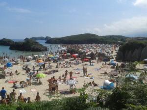 Playa de Borizo en pleno mes de agosto.